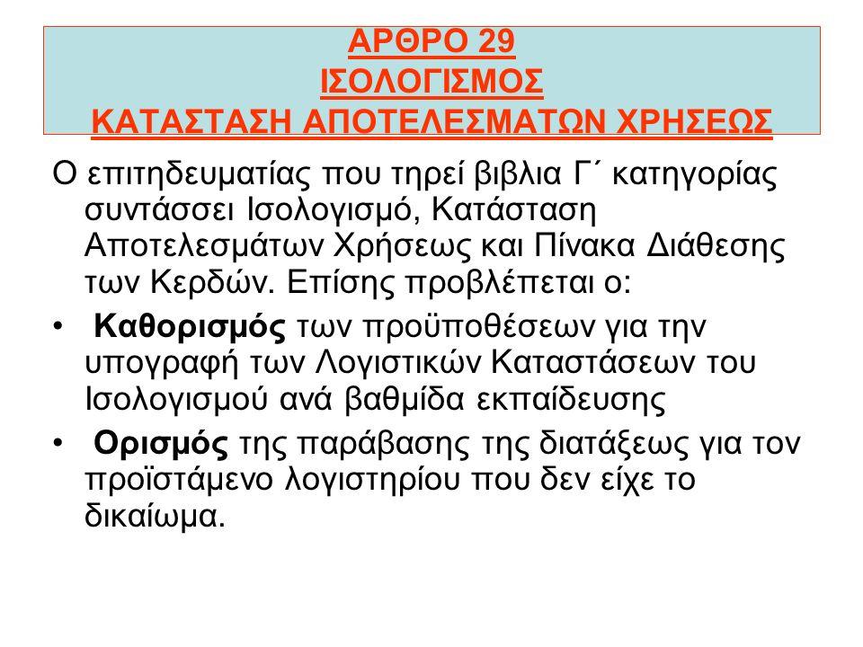 ΑΡΘΡΟ 29 ΙΣΟΛΟΓΙΣΜΟΣ ΚΑΤΑΣΤΑΣΗ ΑΠΟΤΕΛΕΣΜΑΤΩΝ ΧΡΗΣΕΩΣ