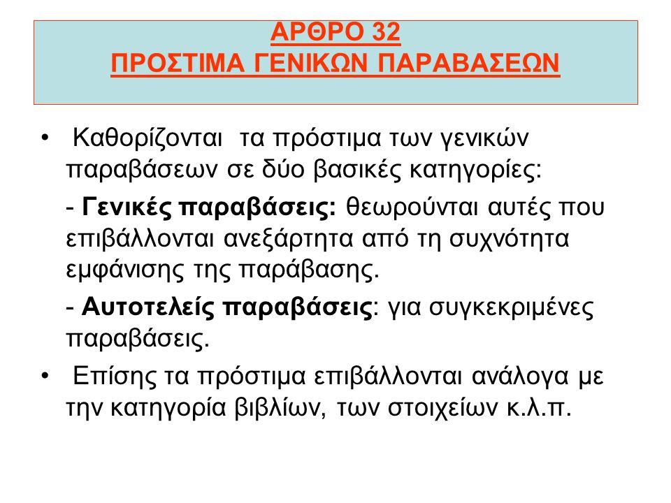 ΑΡΘΡΟ 32 ΠΡΟΣΤΙΜΑ ΓΕΝΙΚΩΝ ΠΑΡΑΒΑΣΕΩΝ