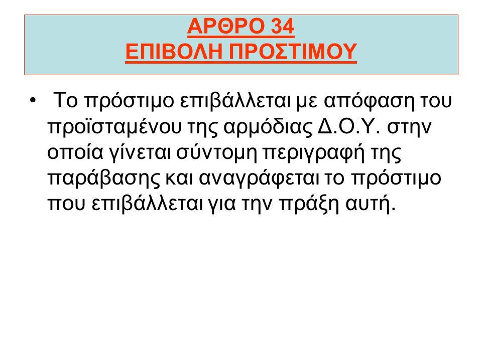ΑΡΘΡΟ 34 ΕΠΙΒΟΛΗ ΠΡΟΣΤΙΜΟΥ