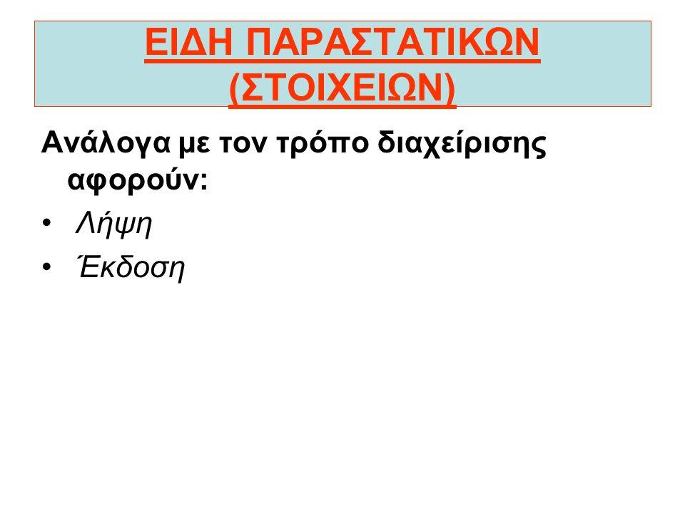 ΕΙΔΗ ΠΑΡΑΣΤΑΤΙΚΩΝ (ΣΤΟΙΧΕΙΩΝ)