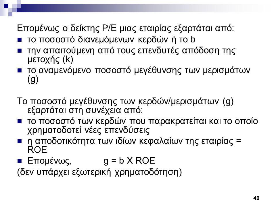 Επομένως ο δείκτης P/E μιας εταιρίας εξαρτάται από:
