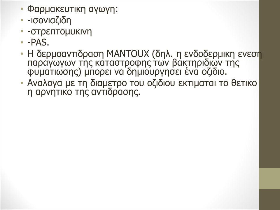 Φαρμακευτικη αγωγη: -ισονιαζιδη. -στρεπτομυκινη. -PAS.