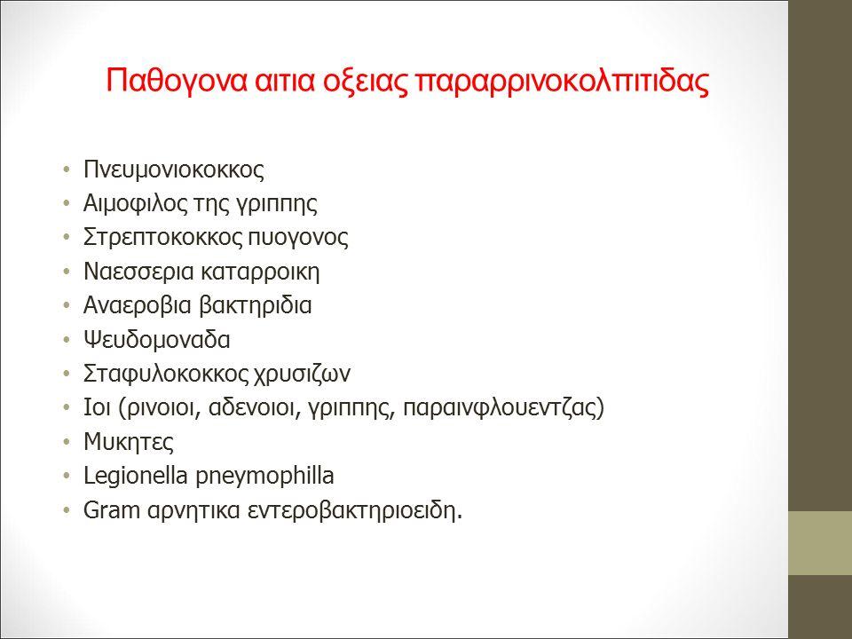 Παθογονα αιτια οξειας παραρρινοκολπιτιδας