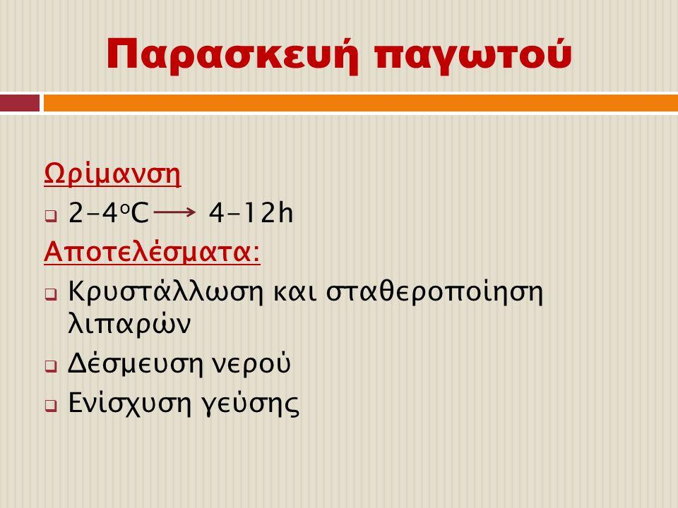 Παρασκευή παγωτού Ωρίμανση 2-4οC 4-12h Αποτελέσματα: