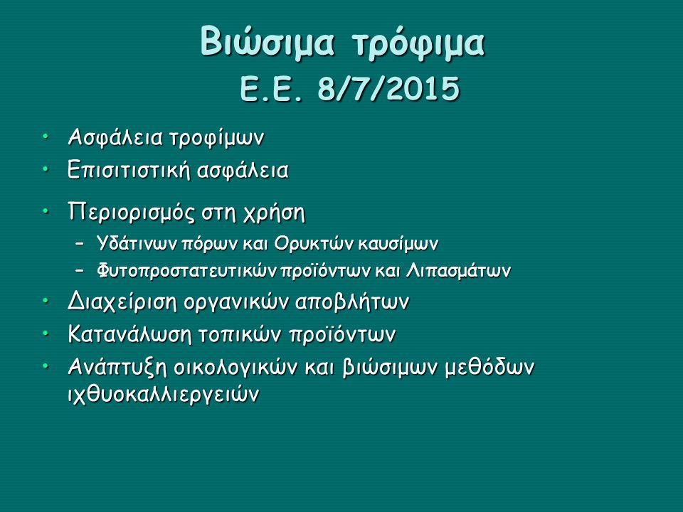 Βιώσιμα τρόφιμα Ε.Ε. 8/7/2015 Ασφάλεια τροφίμων Επισιτιστική ασφάλεια