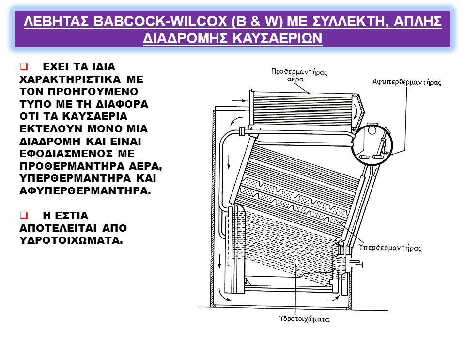ΛΕΒΗΤΑΣ BABCOCK-WILCOX (B & W) ΜΕ ΣΥΛΛΕΚΤΗ, ΑΠΛΗΣ ΔΙΑΔΡΟΜΗΣ ΚΑΥΣΑΕΡΙΩΝ
