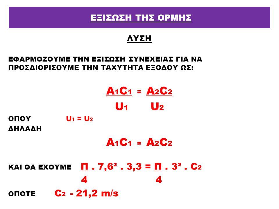 Α1C1 = A2C2 U1 U2 ΕΞΙΣΩΣΗ ΤΗΣ ΟΡΜΗΣ ΛΥΣΗ