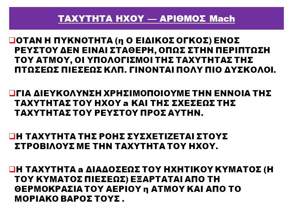 ΤΑΧΥΤΗΤΑ ΗΧΟΥ — ΑΡΙΘΜΟΣ Μach