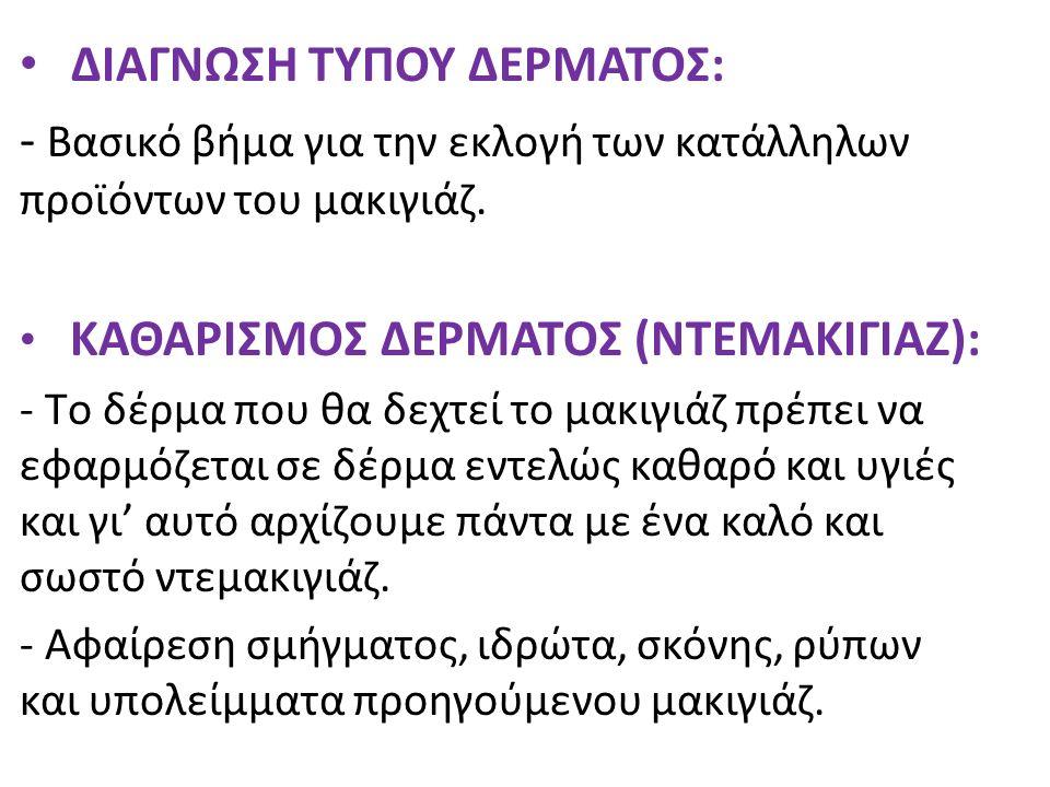 ΔΙΑΓΝΩΣΗ ΤΥΠΟΥ ΔΕΡΜΑΤΟΣ: