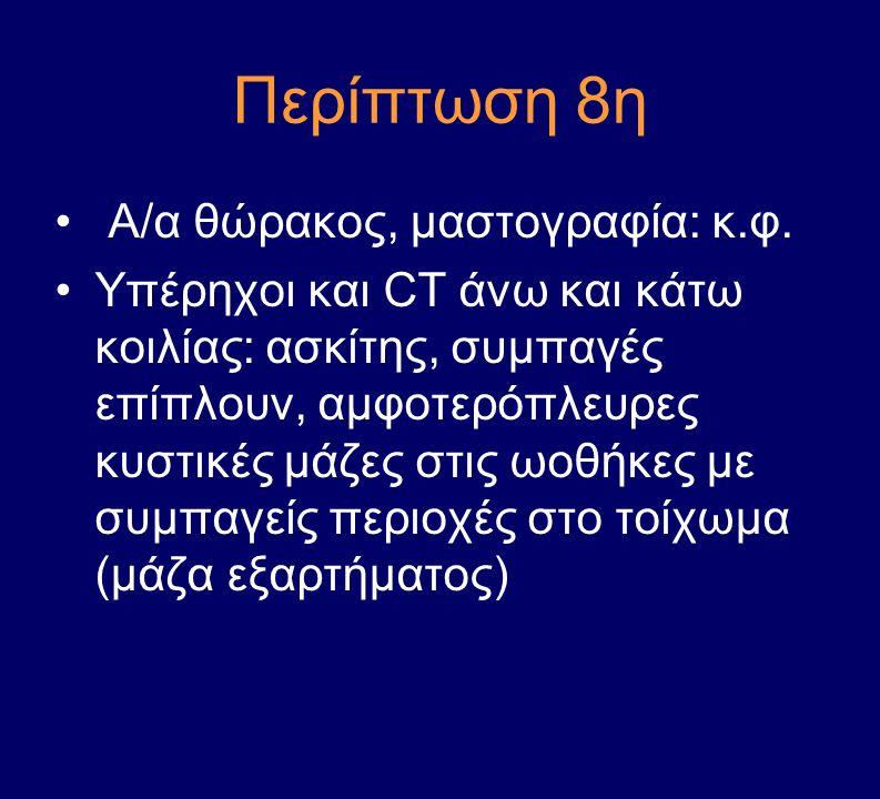 Περίπτωση 8η Α/α θώρακος, μαστογραφία: κ.φ.