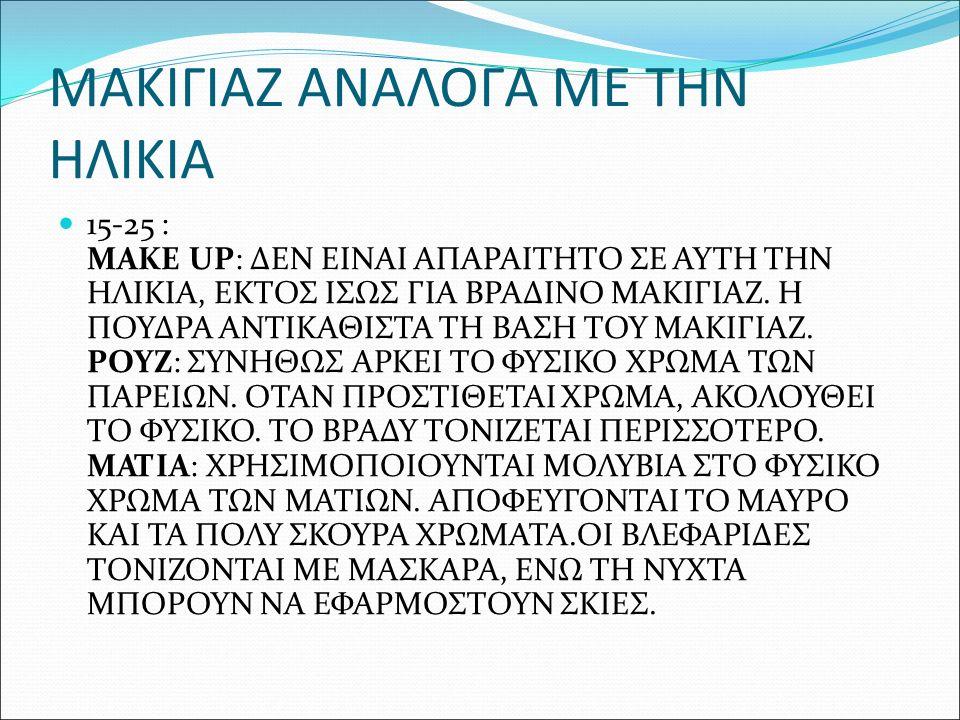 ΜΑΚΙΓΙΑΖ ΑΝΑΛΟΓΑ ΜΕ ΤΗΝ ΗΛΙΚΙΑ