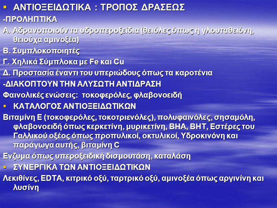ANTIOΞΕΙΔΩΤΙΚΑ : ΤΡΟΠΟΣ ΔΡΑΣΕΩΣ