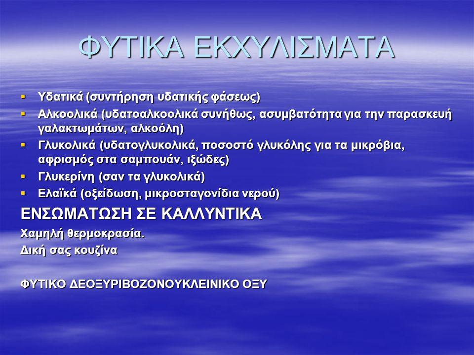 ΦΥΤΙΚΑ ΕΚΧΥΛΙΣΜΑΤΑ ΕΝΣΩΜΑΤΩΣΗ ΣΕ ΚΑΛΛΥΝΤΙΚΑ