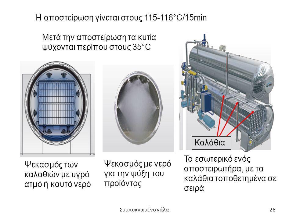 Η αποστείρωση γίνεται στους 115-116°C/15min