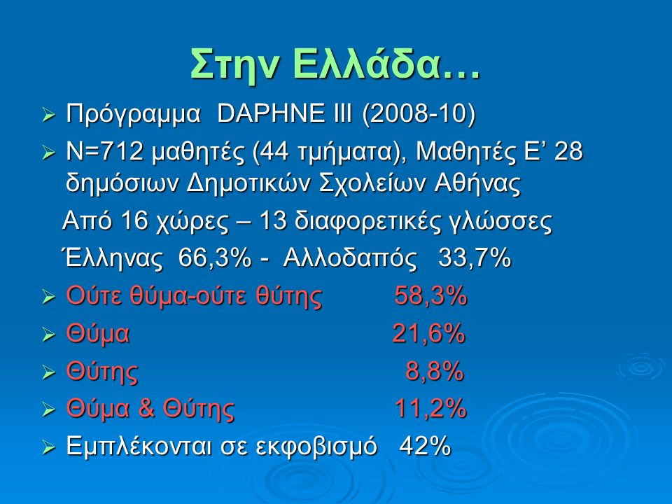 Στην Ελλάδα… Πρόγραμμα DAPHNE III (2008-10)