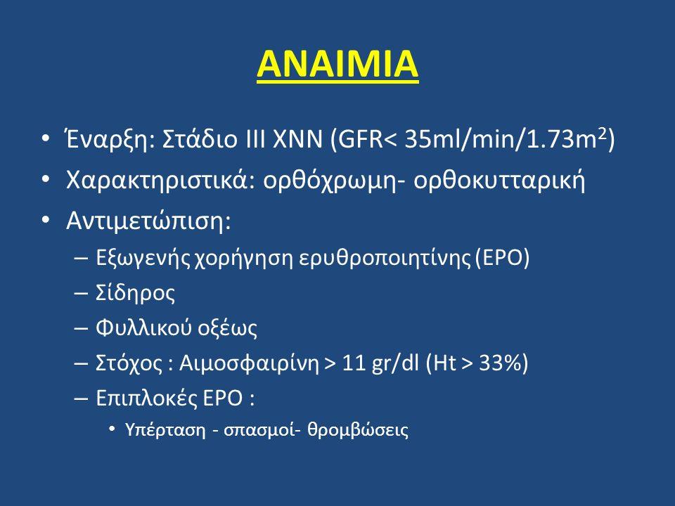 ΑΝΑΙΜΙΑ Έναρξη: Στάδιο ΙΙΙ ΧΝΝ (GFR< 35ml/min/1.73m2)