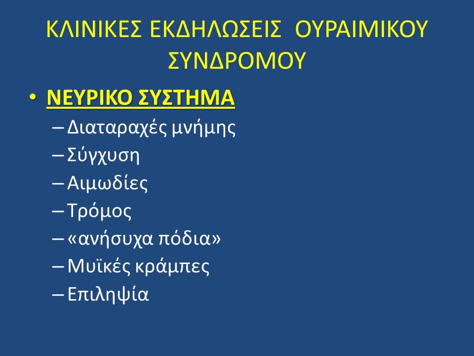 ΚΛΙΝΙΚΕΣ ΕΚΔΗΛΩΣΕΙΣ ΟΥΡΑΙΜΙΚΟΥ ΣΥΝΔΡΟΜΟΥ