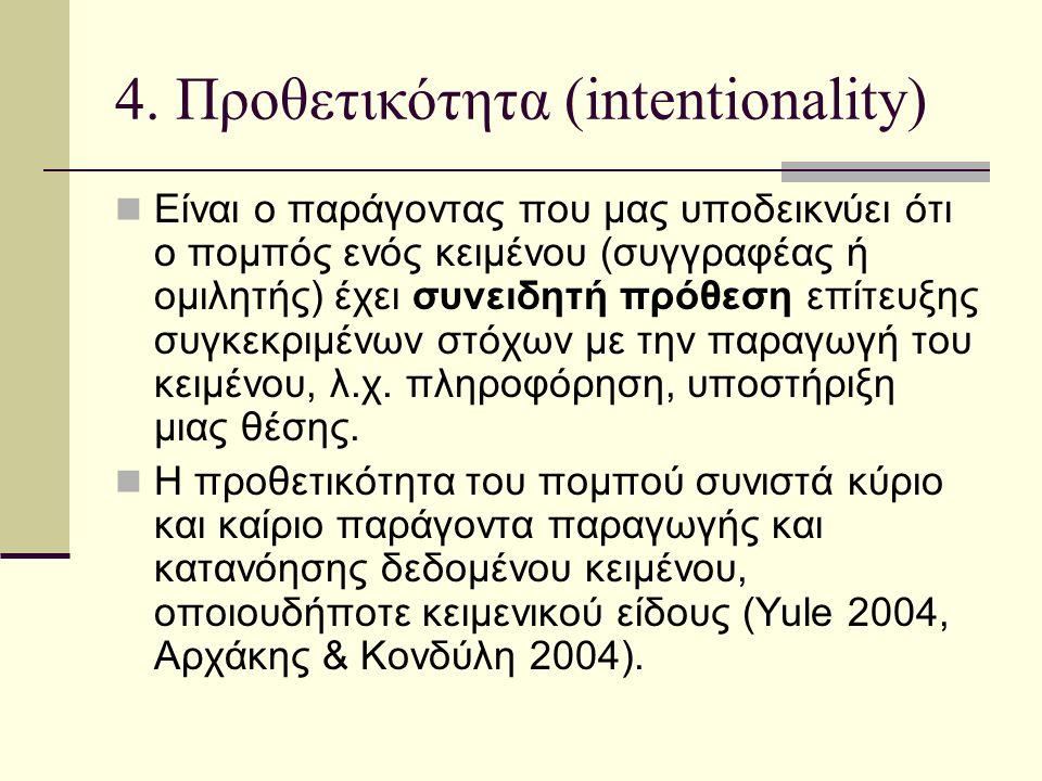 4. Προθετικότητα (intentionality)