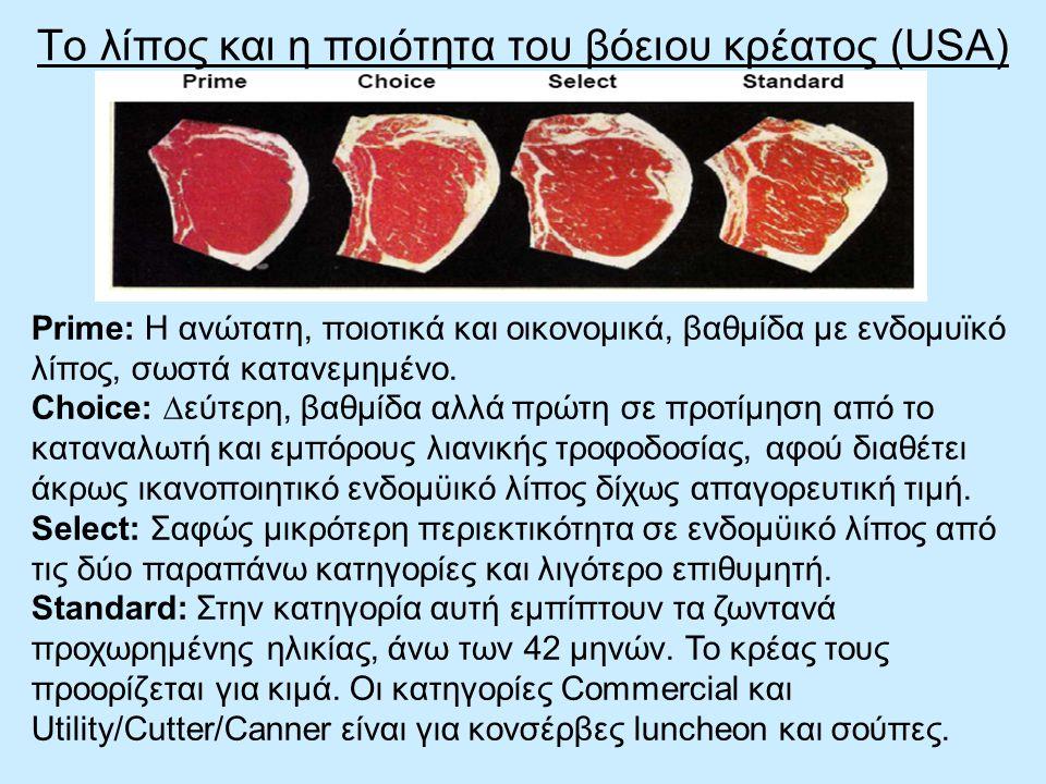 Το λίπος και η ποιότητα του βόειου κρέατος (USA)