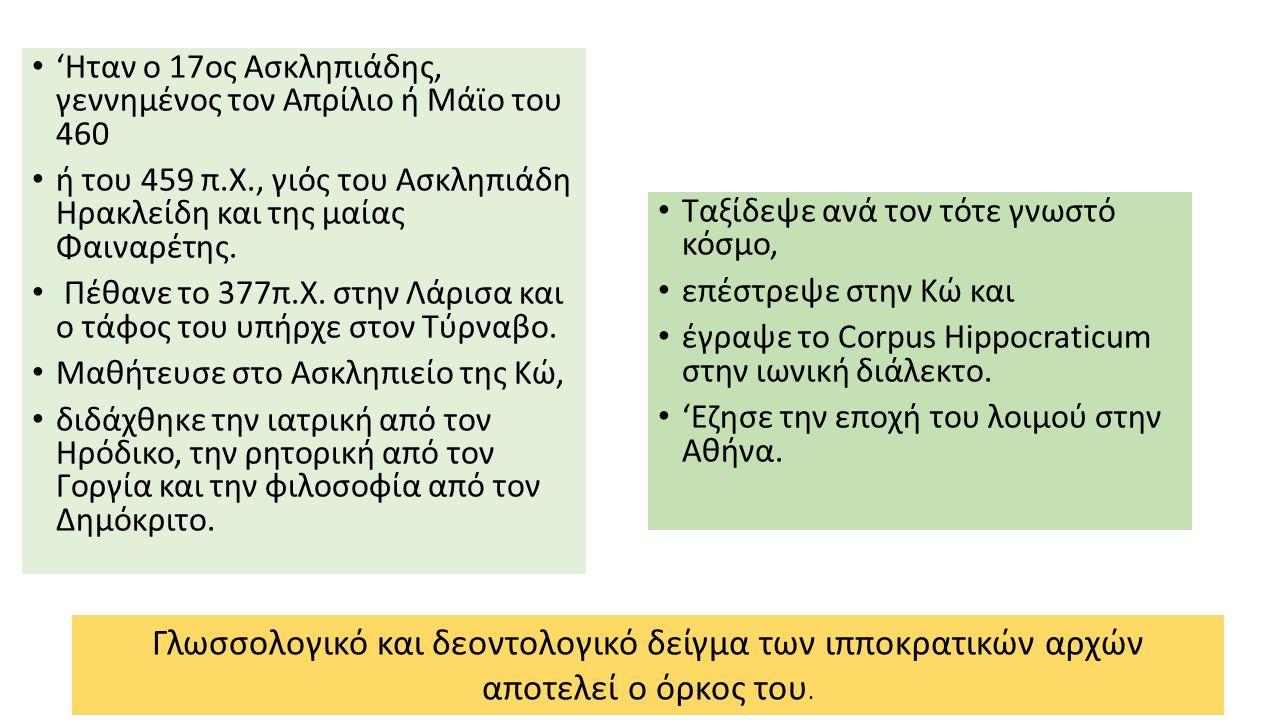 'Ηταν ο 17ος Ασκληπιάδης, γεννημένος τον Απρίλιο ή Μάϊο του 460