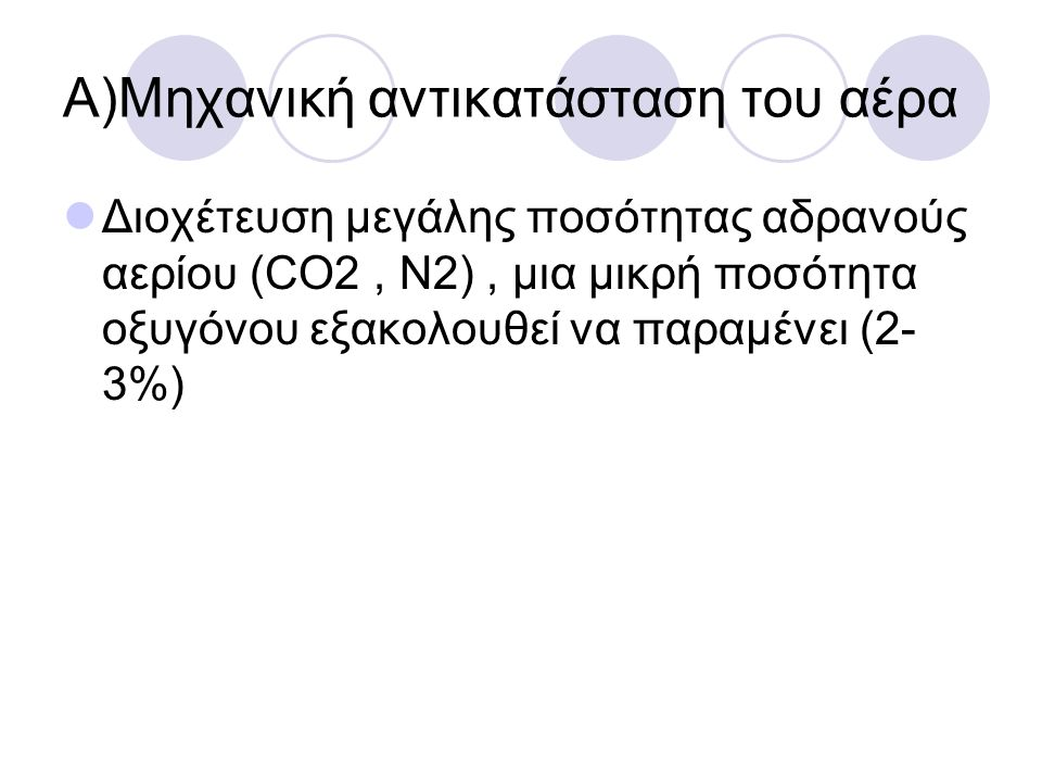 Α)Μηχανική αντικατάσταση του αέρα