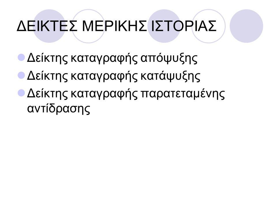 ΔΕΙΚΤΕΣ ΜΕΡΙΚΗΣ ΙΣΤΟΡΙΑΣ