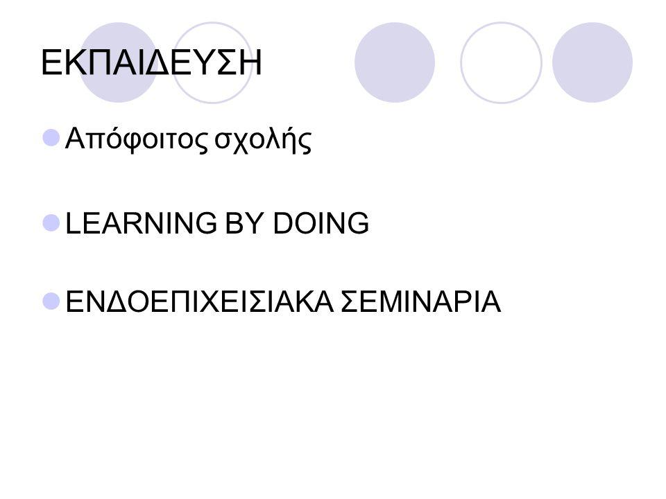 ΕΚΠΑΙΔΕΥΣΗ Απόφοιτος σχολής LEARNING BY DOING