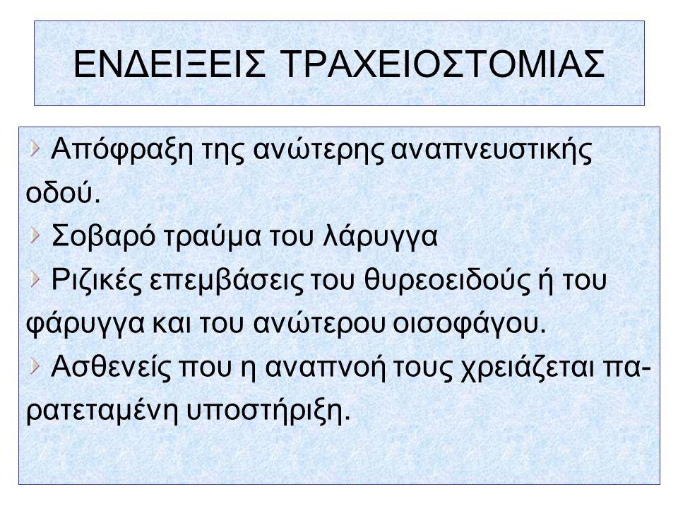 ΕΝΔΕΙΞΕΙΣ ΤΡΑΧΕΙΟΣΤΟΜΙΑΣ