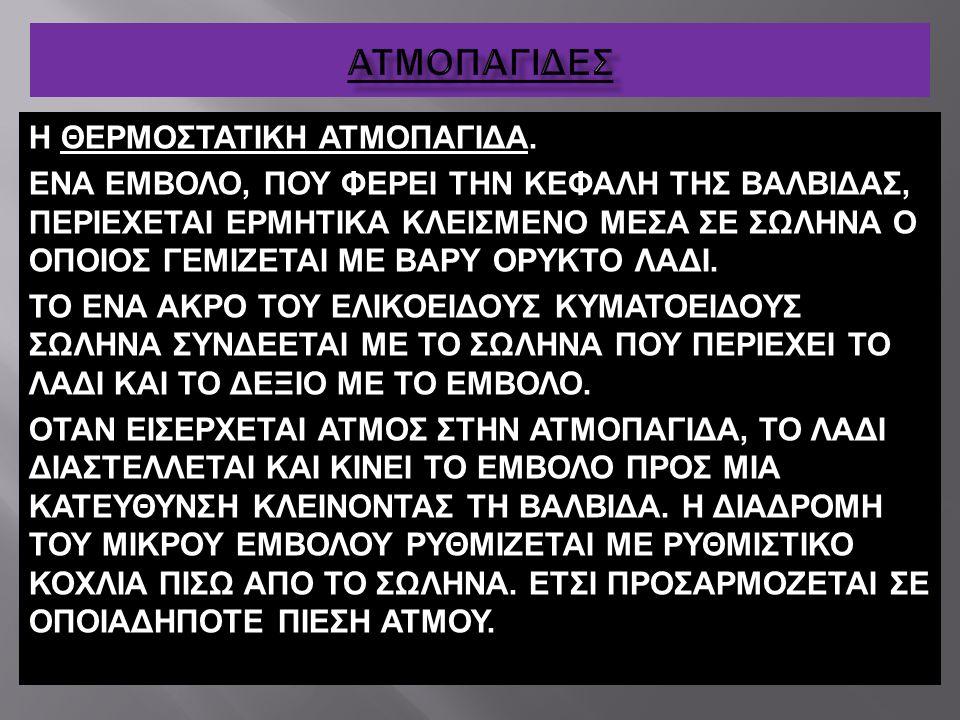 ΑΤΜΟΠΑΓΙΔΕΣ Η ΘΕΡΜΟΣΤΑΤΙΚΗ ΑΤΜΟΠΑΓΙΔΑ.
