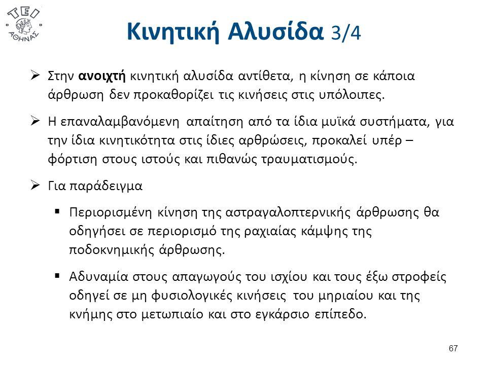 Κινητική Αλυσίδα 4/4 Οι αρθρικές κινήσεις εξελίσσονται με συγκεκριμένα πρότυπα: Στροφής - roll, Ολίσθησης - slide,