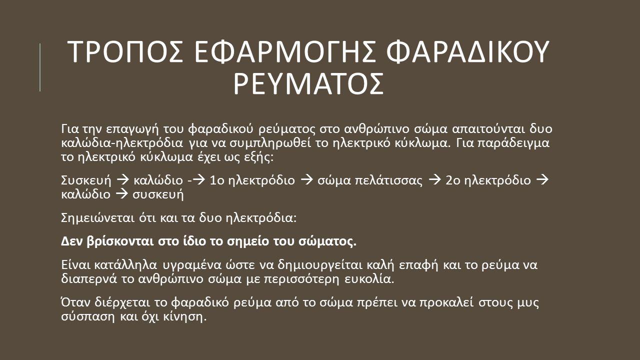 ΤΡΟΠΟΣ ΕΦΑΡΜΟΓΗΣ ΦΑΡΑΔΙΚΟΥ ΡΕΥΜΑΤΟΣ