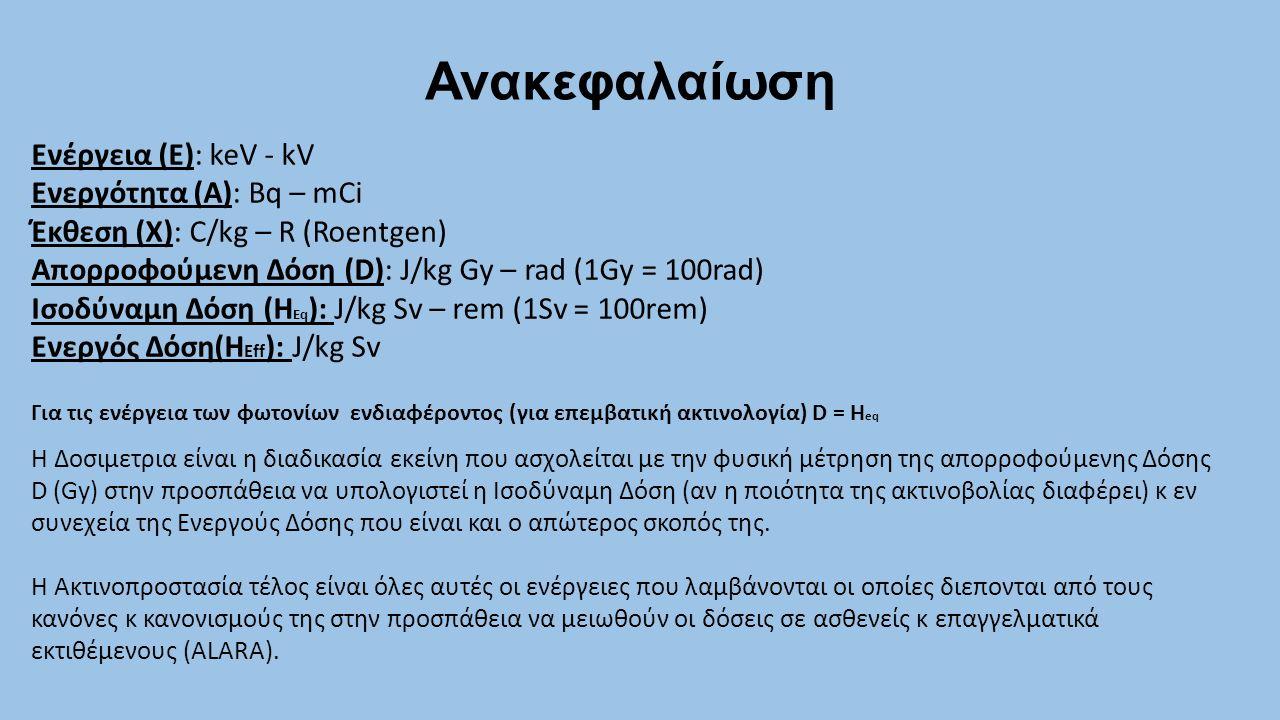 Ανακεφαλαίωση Ενέργεια (E): keV - kV Ενεργότητα (A): Bq – mCi