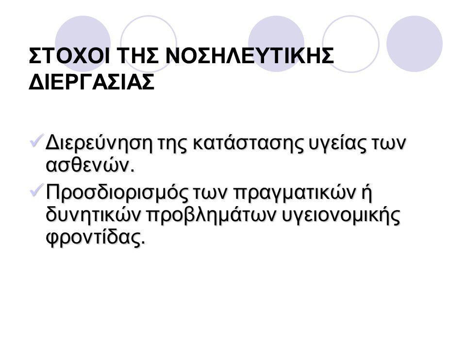 ΣΤΟΧΟΙ ΤΗΣ ΝΟΣΗΛΕΥΤΙΚΗΣ ΔΙΕΡΓΑΣΙΑΣ