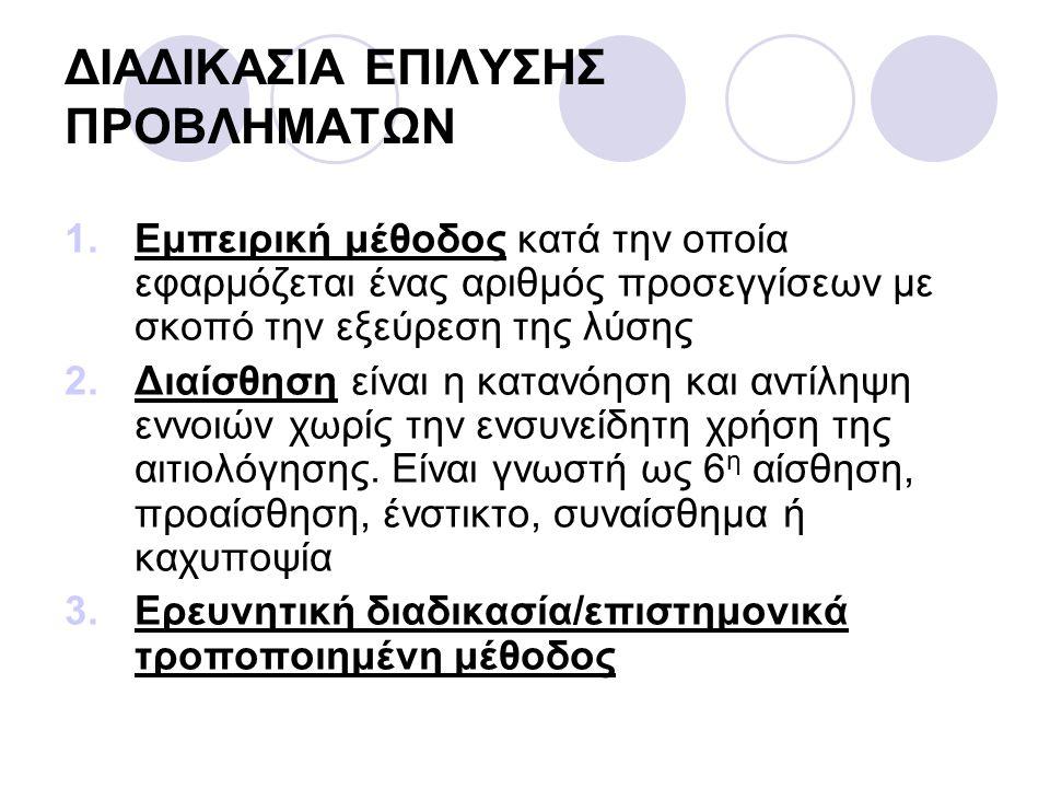 ΔΙΑΔΙΚΑΣΙΑ ΕΠΙΛΥΣΗΣ ΠΡΟΒΛΗΜΑΤΩΝ