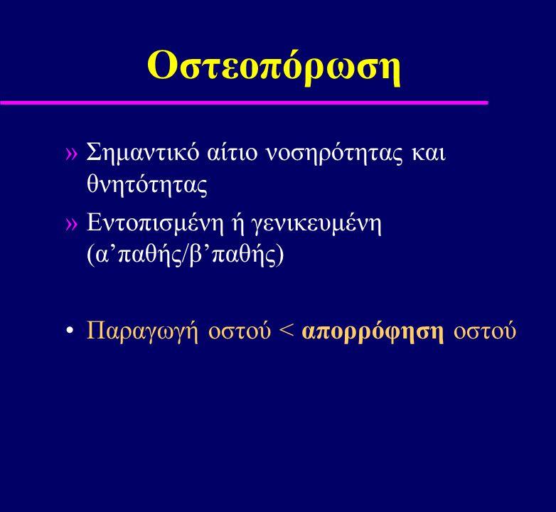 Οστεοπόρωση Σημαντικό αίτιο νοσηρότητας και θνητότητας