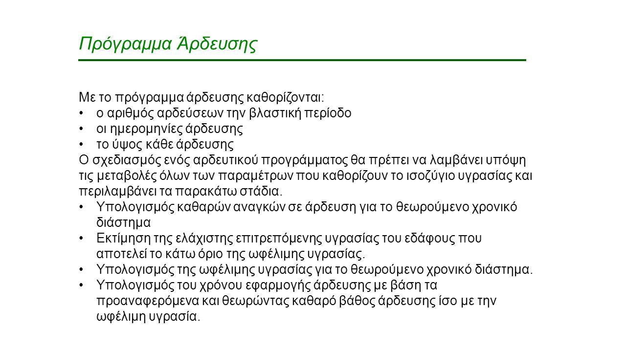 Πρόγραμμα Άρδευσης Με το πρόγραμμα άρδευσης καθορίζονται: