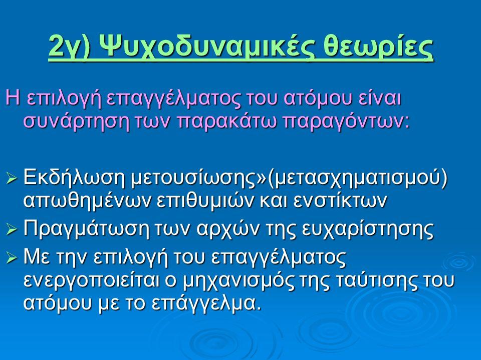 2γ) Ψυχοδυναμικές θεωρίες