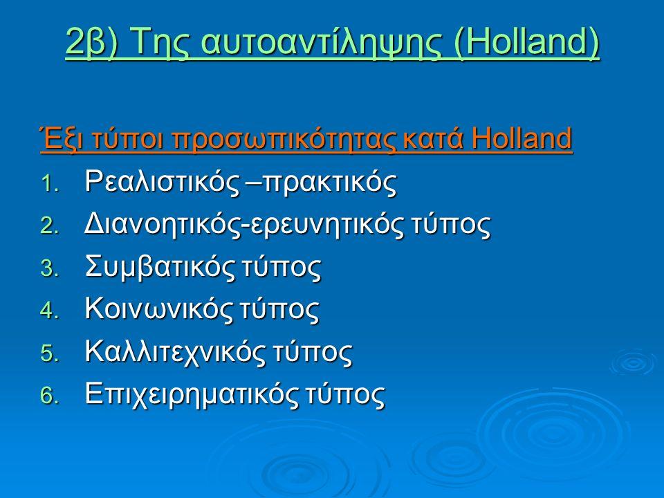 2β) Της αυτοαντίληψης (Holland)