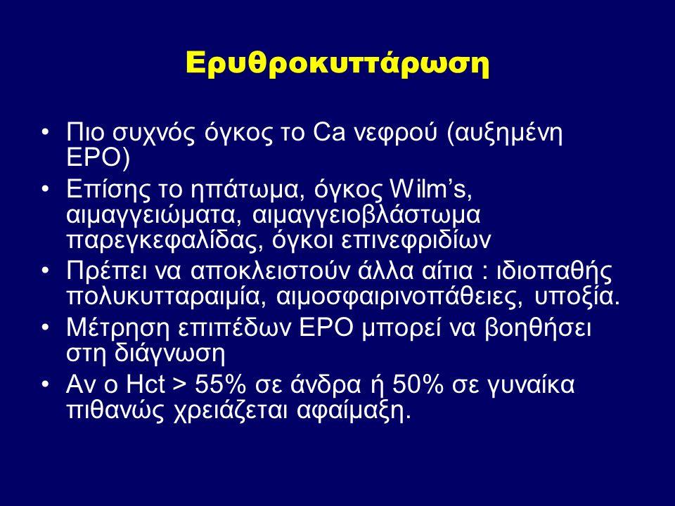 Ερυθροκυττάρωση Πιο συχνός όγκος το Ca νεφρού (αυξημένη EPO)