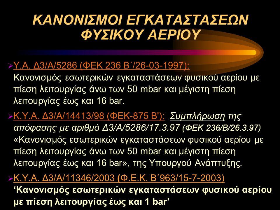 ΚΑΝΟΝΙΣΜΟΙ ΕΓΚΑΤΑΣΤΑΣΕΩΝ ΦΥΣΙΚΟΥ ΑΕΡΙΟΥ