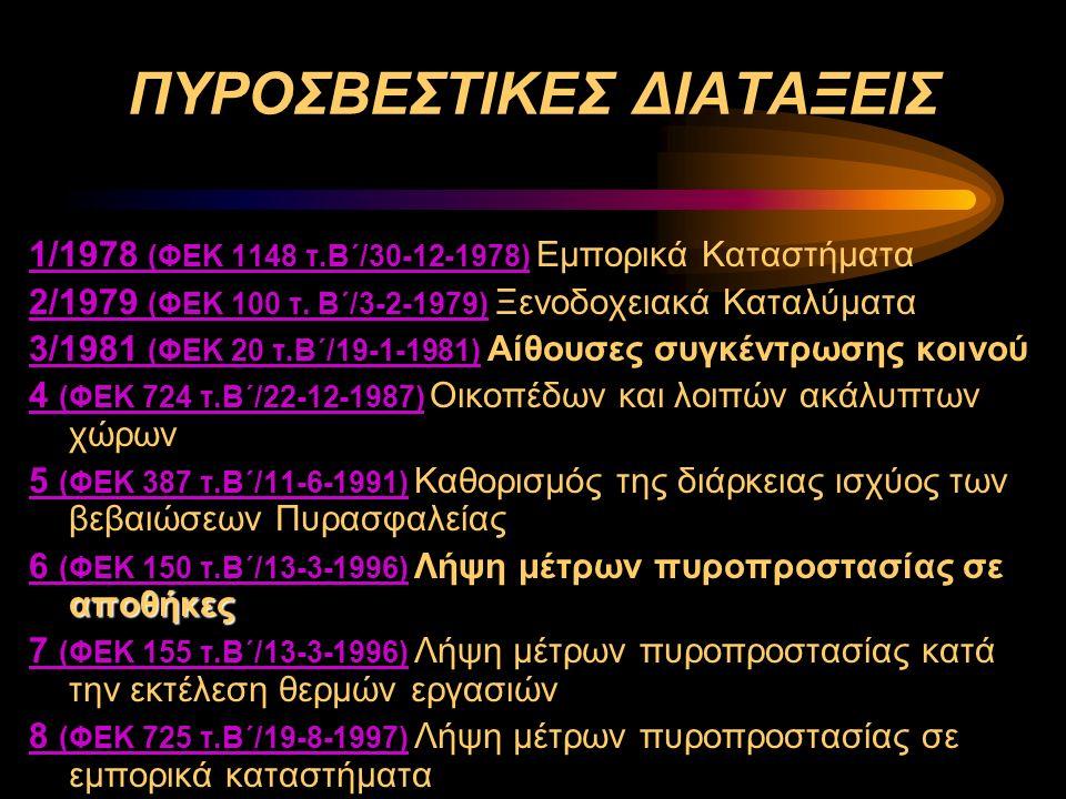 ΠΥΡΟΣΒΕΣΤΙΚΕΣ ΔΙΑΤΑΞΕΙΣ