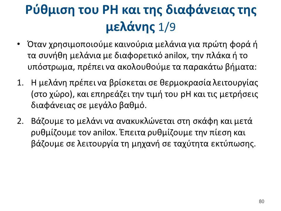 Ρύθμιση του PH και της διαφάνειας της μελάνης 2/9