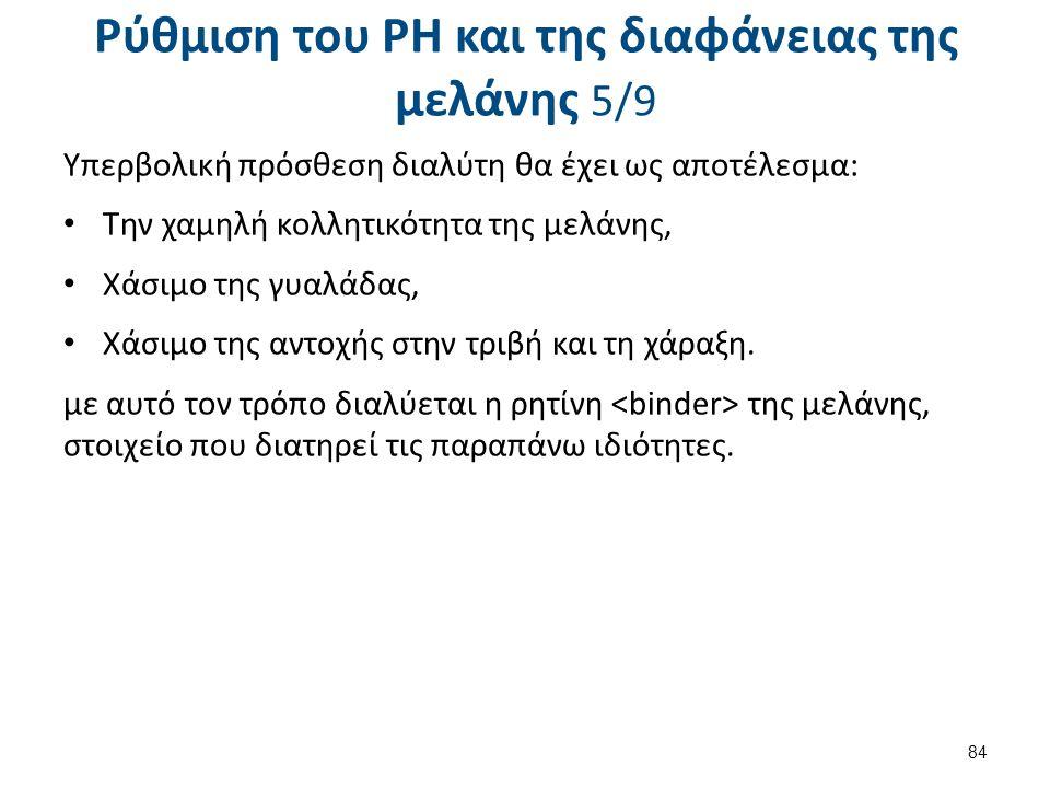 Ρύθμιση του PH και της διαφάνειας της μελάνης 6/9