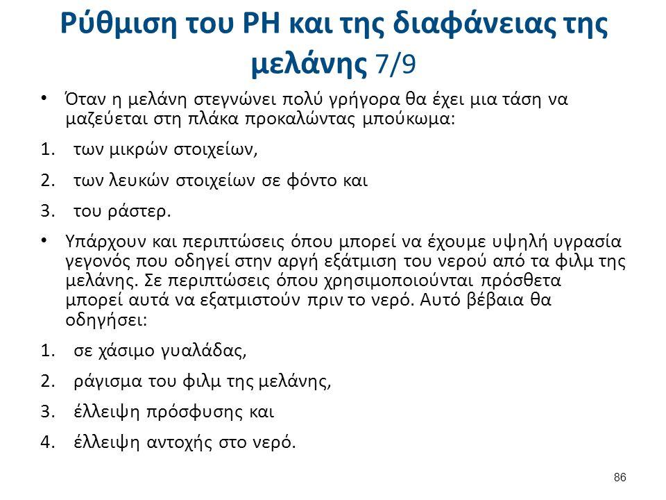 Ρύθμιση του PH και της διαφάνειας της μελάνης 8/9
