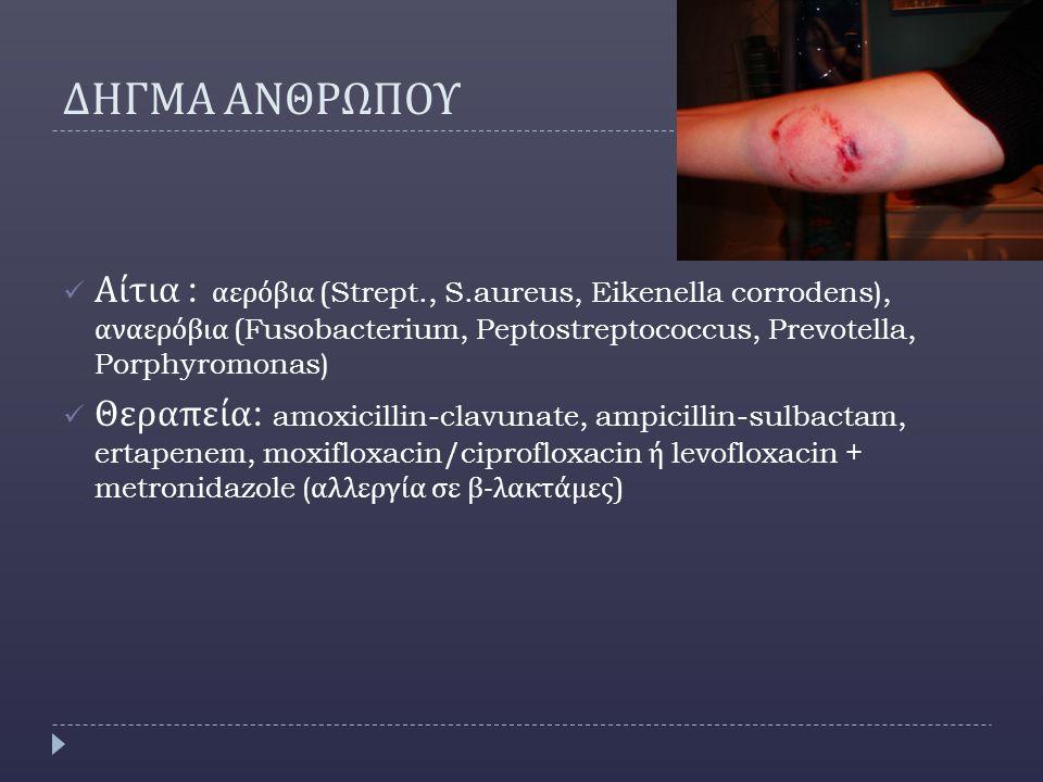 ΔΗΓΜΑ ΑΝΘΡΩΠΟΥ Αίτια : αερόβια (Strept., S.aureus, Eikenella corrodens), αναερόβια (Fusobacterium, Peptostreptococcus, Prevotella, Porphyromonas)