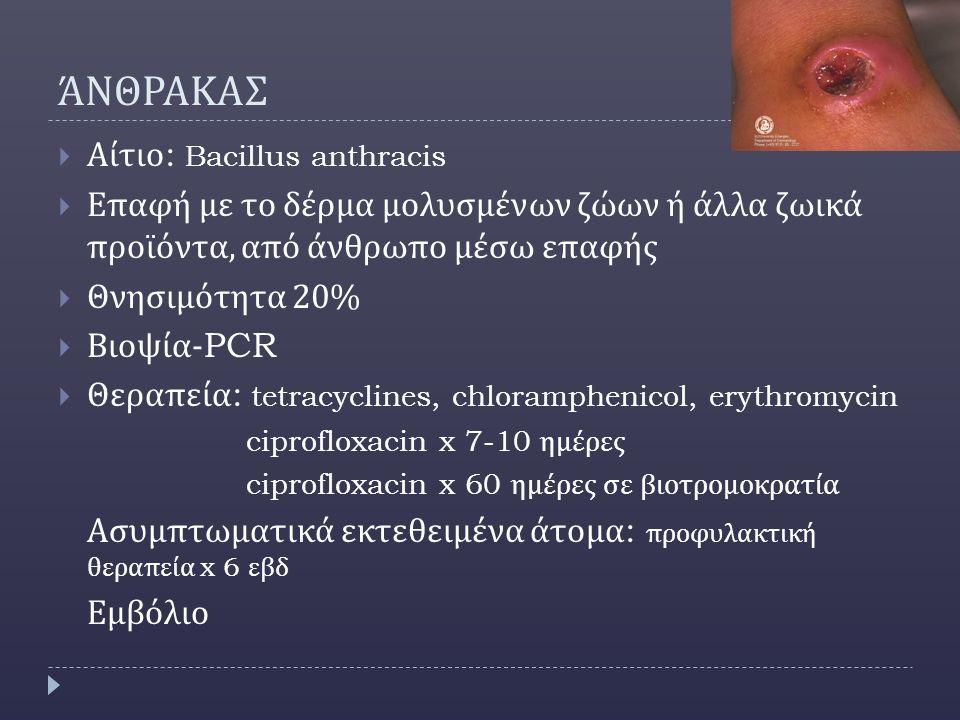 ΆΝΘΡΑΚΑΣ Αίτιο: Bacillus anthracis