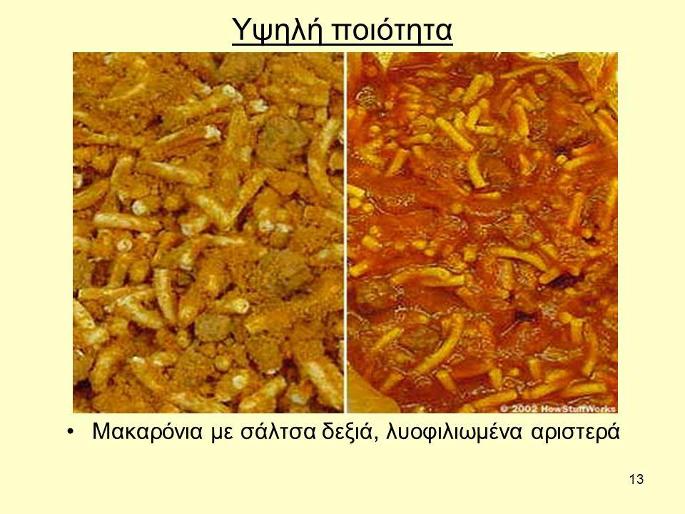 Μακαρόνια με σάλτσα δεξιά, λυοφιλιωμένα αριστερά