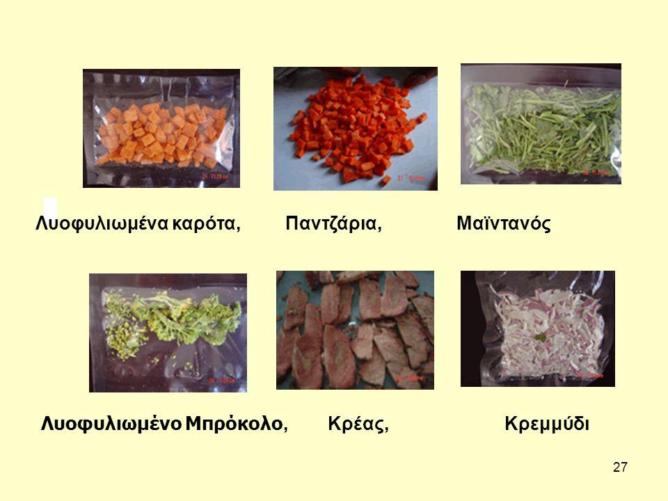 Λυοφυλιωμένα καρότα, Παντζάρια, Μαϊντανός