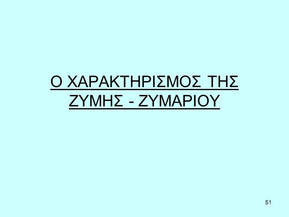 Ο ΧΑΡΑΚΤΗΡΙΣΜΟΣ ΤΗΣ ΖΥΜΗΣ - ΖΥΜΑΡΙΟΥ