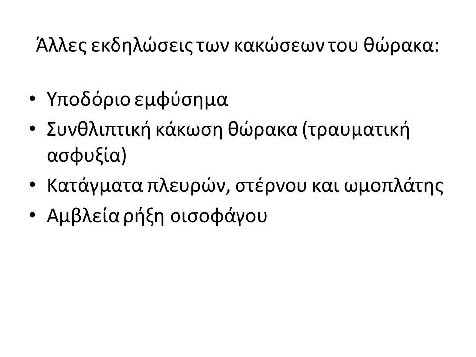 Άλλες εκδηλώσεις των κακώσεων του θώρακα: